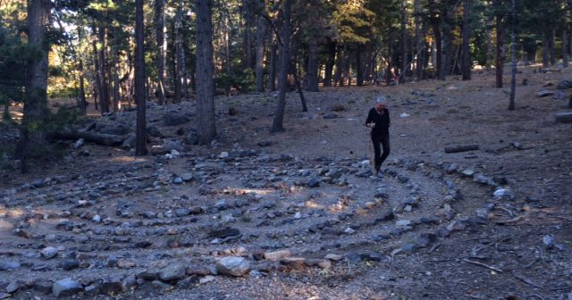 Debra L. Gish walks the labyrinth prior to her croning ceremony